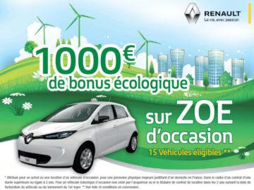 1000€ de bonus écologique sur les Zoé d'occasion